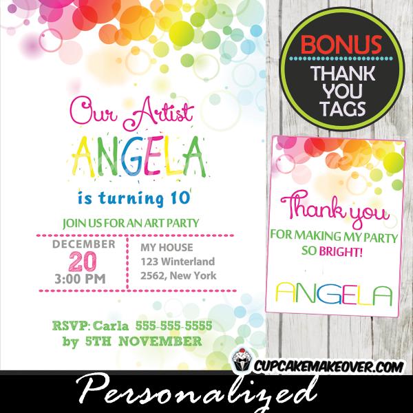 printable rainbow bokeh colors birthday invitations