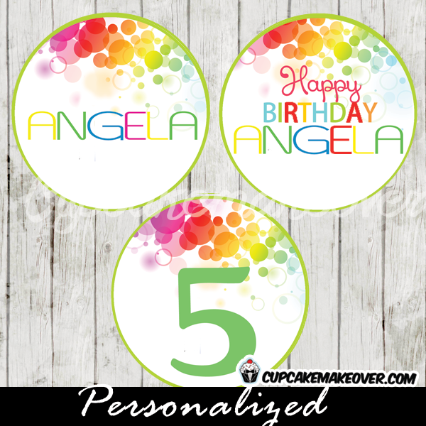 personalized rainbow bokeh party favor tags cake toppers printable