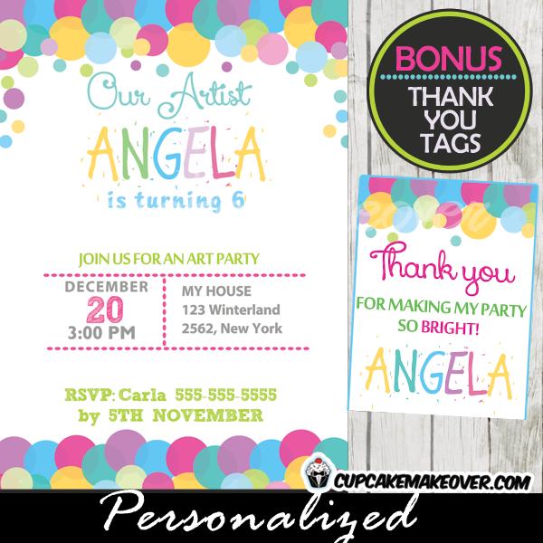 printable rainbow bubbles personalized birthday invitations