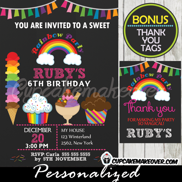 Ice Cream Rainbow Birthday Party Invitation printable