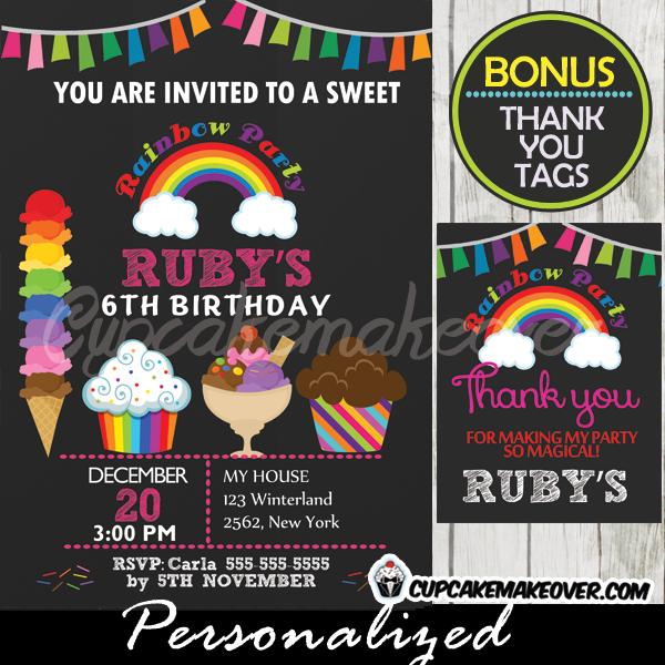 Ice Cream Rainbow Birthday Party Invitation printable