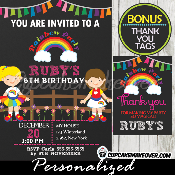 rainbow girls birthday party invitation printable