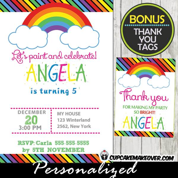 printable rainbow stripes birthday party invitations diy