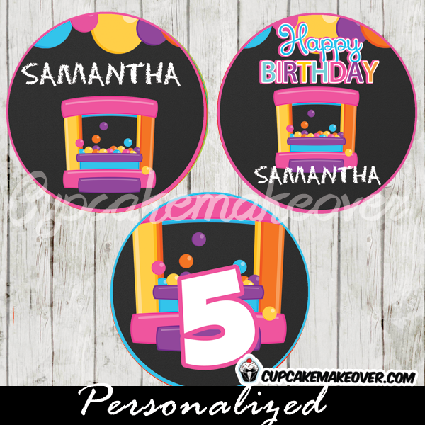 bounce house party favor tags cupake toppers printable
