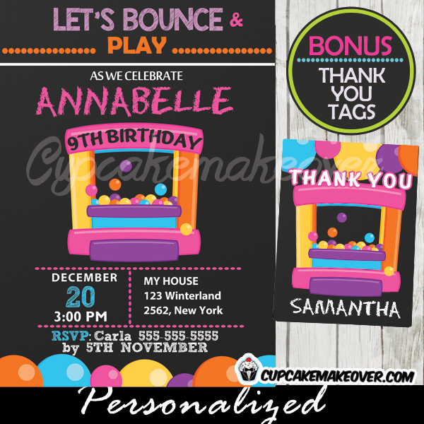 printable bounce house party invitations for girls