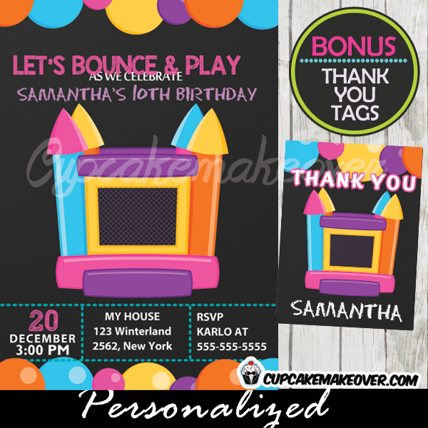 jump bounce house party invitations for girls printable