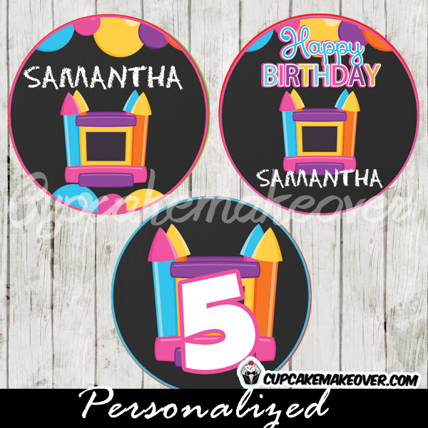 personalized bounce house party cupake toppers printable