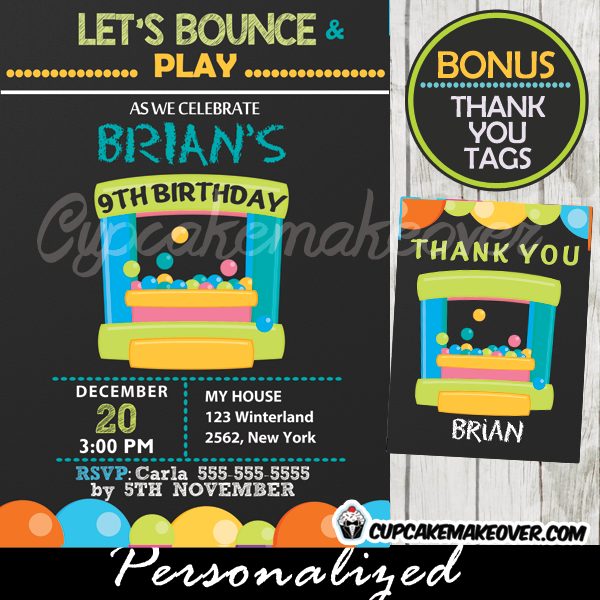 Bounce House Party Invitation for Boys, Personalized - D6 ...
