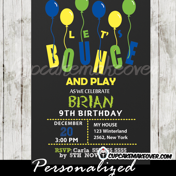 bounce play birthday invitations for boys printable