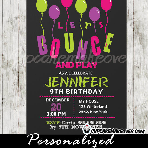 jump play bounce party invitations for girls printable