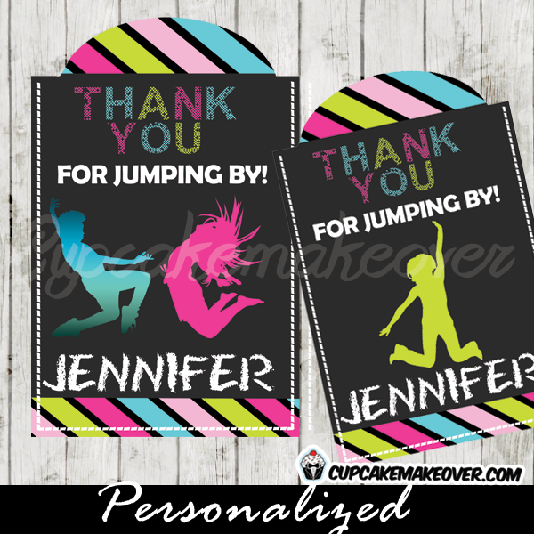 personalized trampoline favor tags gift labels