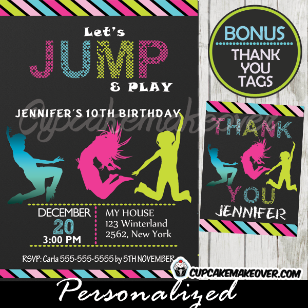 printable jump trampoline party invitations