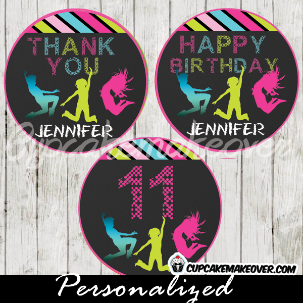 personalized trampoline cupcake toppers favor tags