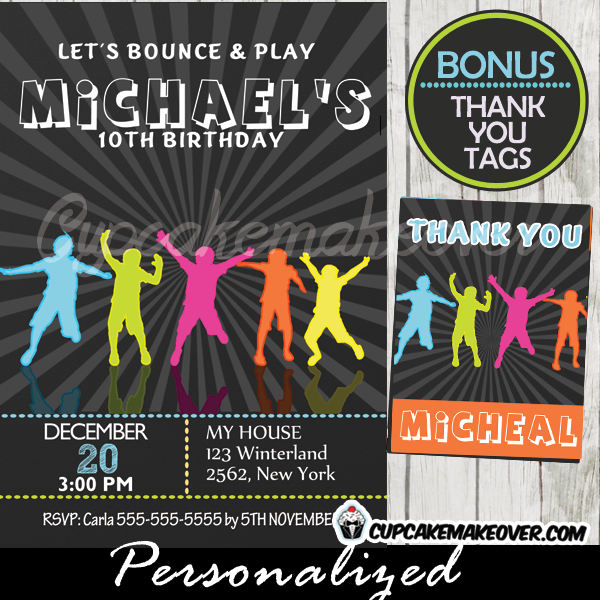 bounce play trampoline birthday party invitations