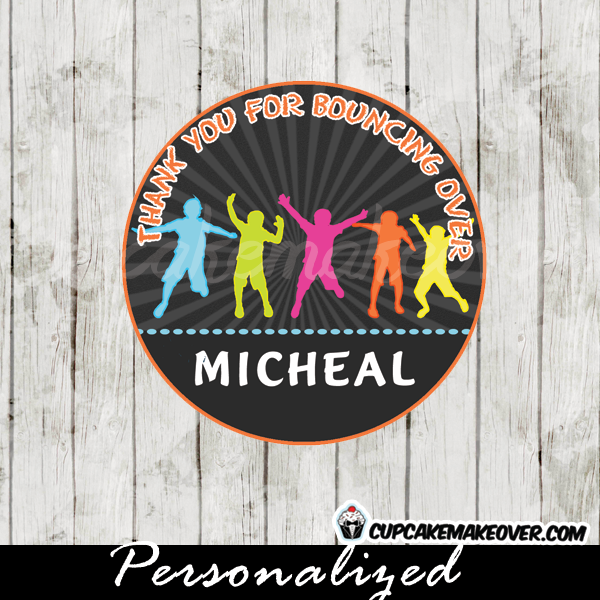 bounce play jump party favor tags cupake toppers printable