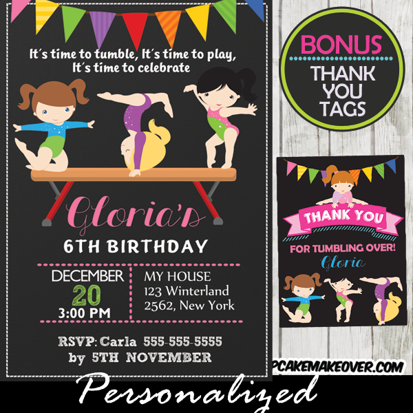 Balance Beam Printable Gymnastics Birthday Party Invitations Girls