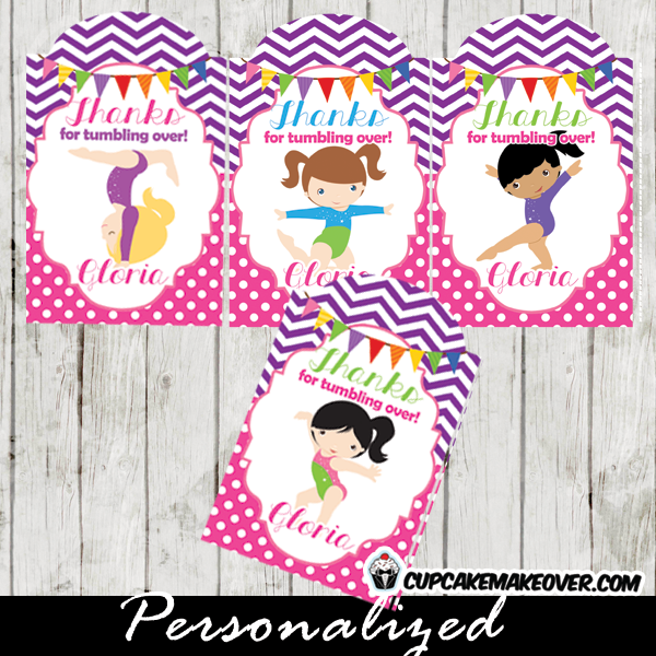 purple pink chevron personalized gymnastics gift labels printable