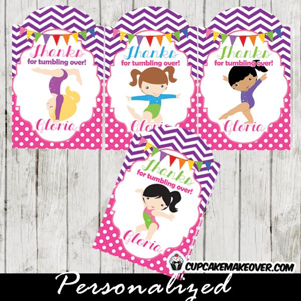 purple pink chevron personalized gymnastics gift labels printable