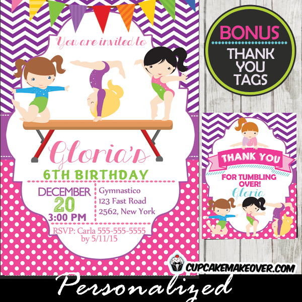 Purple Chevron Printable Gymnastics Birthday Party Invitations Girls