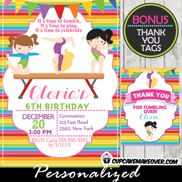 printable gymnastics girls birthday party invitations