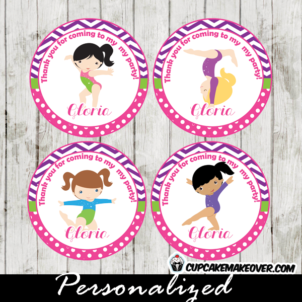 personalized puprle chevron pink gymnastics party cupake toppers printable