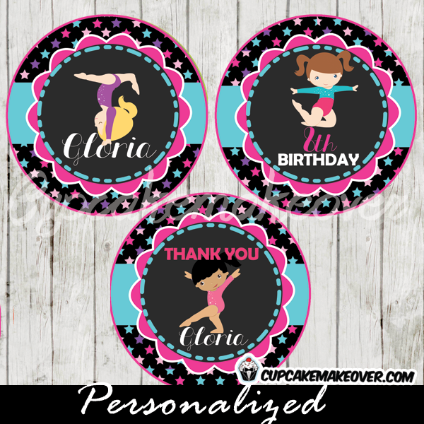 personalized gymnastics party cupake toppers printable