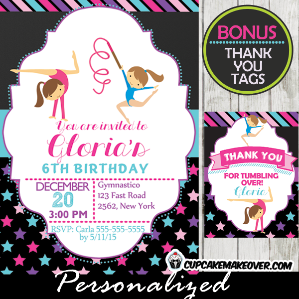 printable ribbon routine gymnastics birthday party invitations girls