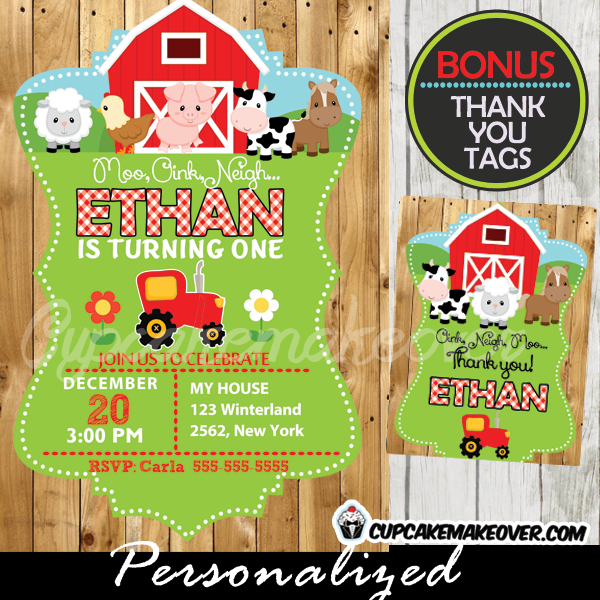 printable barnyard farm animals birthday invitations