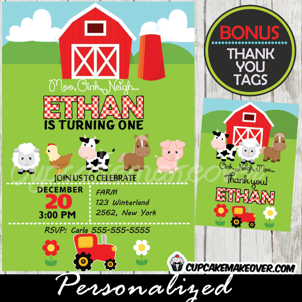 Farm Birthday Invitation Red Tractor Barn Personalized D3