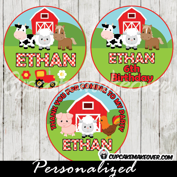 custom barnyard cupcake toppers printable farm cake toppers favor tags