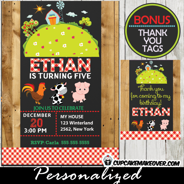 Farm Birthday Invitation Barnyard Scene Personalized D7
