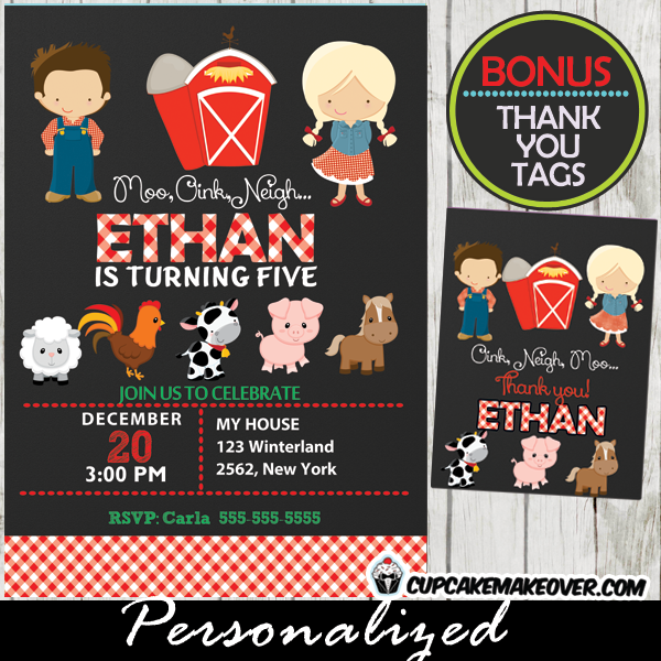 barnyard kids farm animals birthday invitations boys girls printable