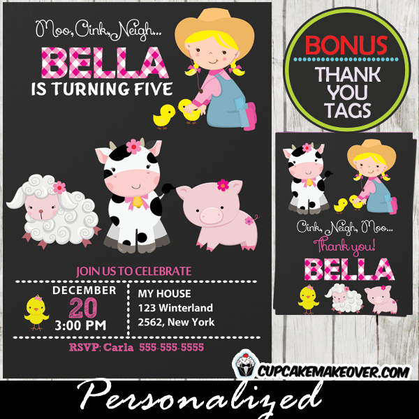 Little Farmer Girl Barnyard Birthday Invitation Personalized D5