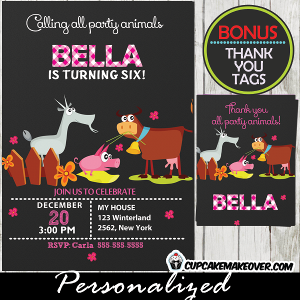 Farm Party Animals Invitation for Girls Personalized D6 – Farm Party Invitations