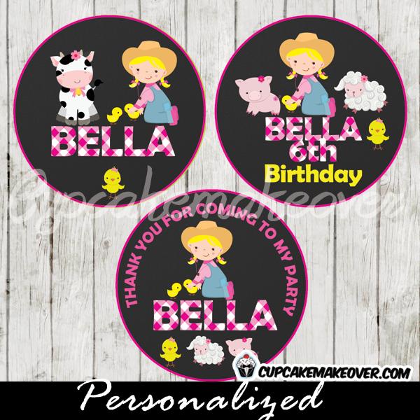 printable Girl Farm Animal Barnyard Cupcake Toppers barnyard favor tags