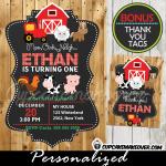 printable farm birthday barnyard animals invitation barn wood red tractor