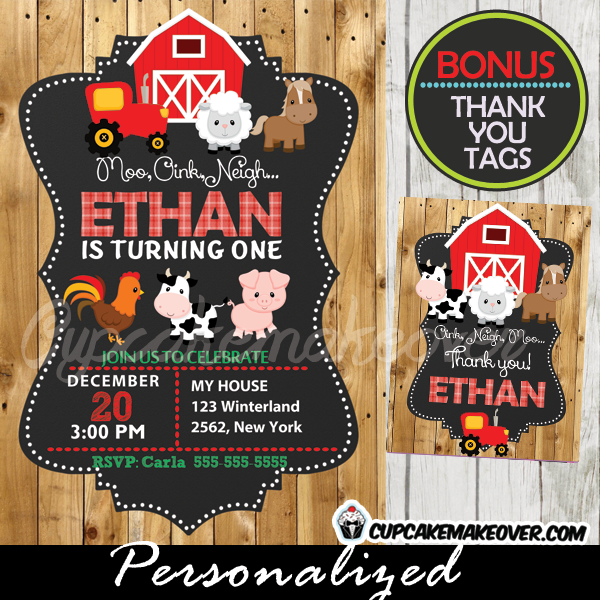 Farm Birthday Invitation Barn Wood Personalized D1 Cupcakemakeover