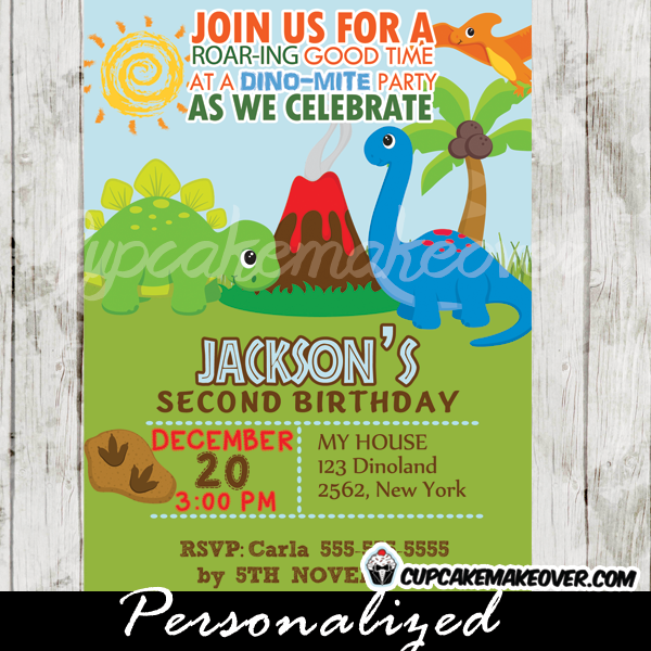 Jurassic land dinosaur birthday invitation personalized d7 jurassic land dinosaur birthday party invitations printable filmwisefo