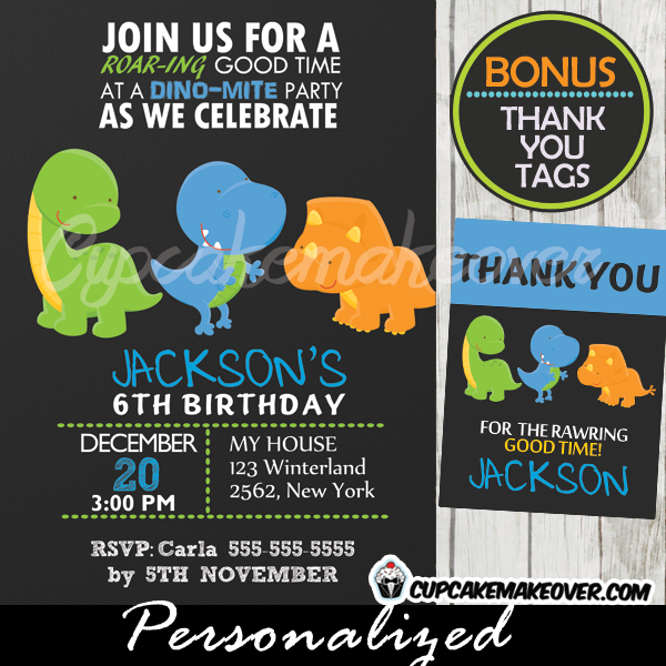 Dinosaurs Party Invitations Boys Printable