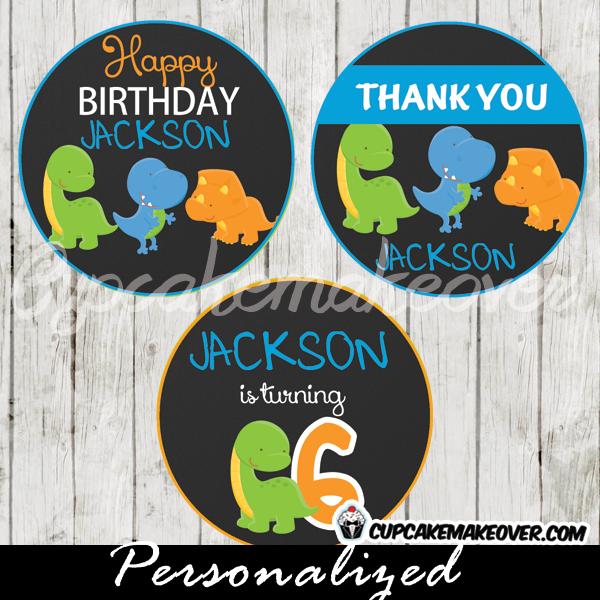 dinos dinosaur cupcake toppers printable gift tags