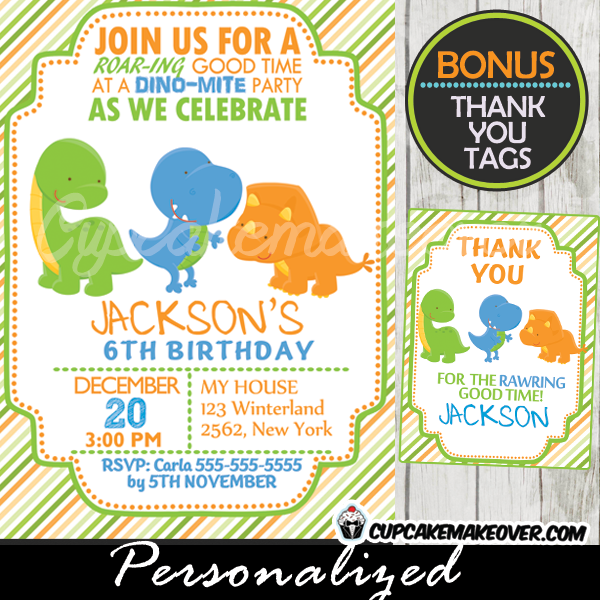 Lil Dinos Dinosaur Birthday Invitation Personalized D2