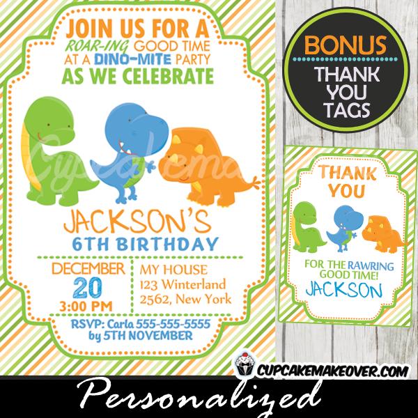 Lil Dinos Dinosaur Birthday Invitation, Personalized - D2 ...
