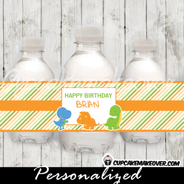 personalized cute dinosaurs water bottle labels printable