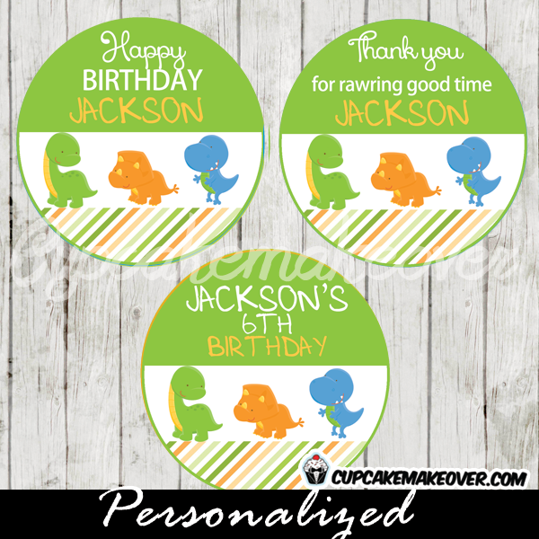 cute little dinos dinosaur cupcake toppers printable favor tags