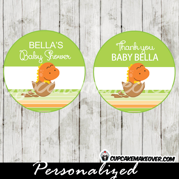 orange dinosaur baby boy shower favor tags printable
