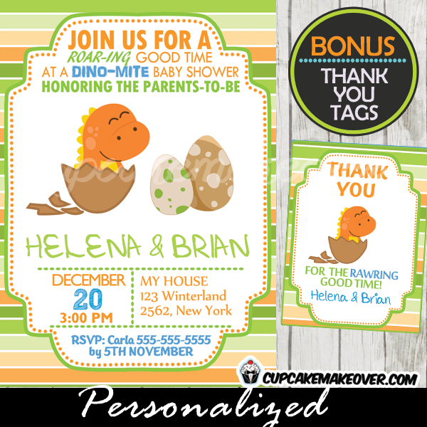 Orange Dinosaur Baby Shower Invitation Boy Personalized D3