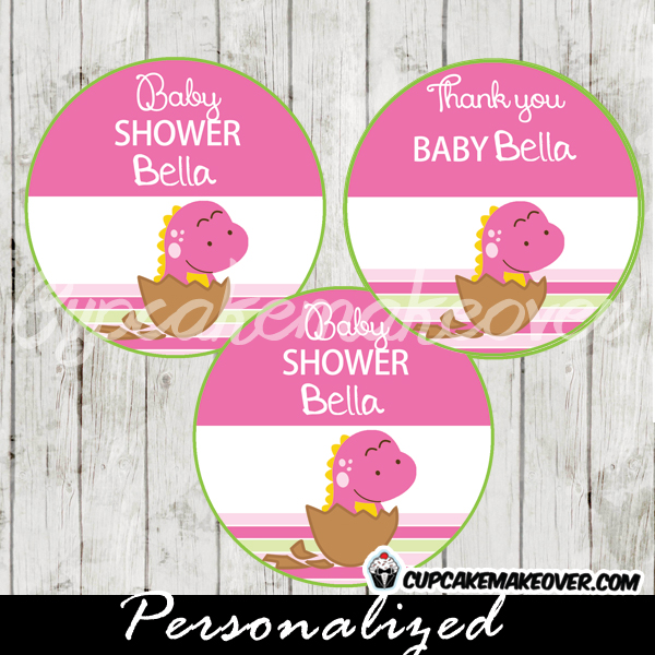pink dinosaur baby girl shower favor tags printable