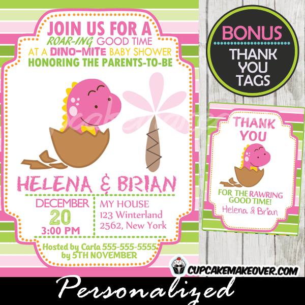 pink dinosaur baby shower invitations girls printable
