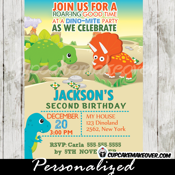 stone age dinosaurs party invitations boys printable
