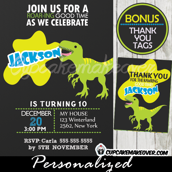 t rex dinosaur birthday party invitations printable